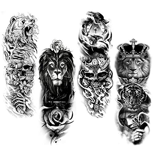 HOWAF 4 Blätter Full Arm Temporäre Tattoos, Extra Groß Vollarm Tattoos Temporär Tätowierung Schwarz Klebe Tattoo Aufkleber Fake Arm Wolf Löwe Tiger Tiere Tattoos Für Männer Frauen Erwachsene