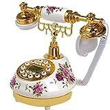 MHTCJ Téléphone Fixe Antique avec Appel d'identification d'appel d'horloge Ajustez l'anneau sans Batterie Téléphone Classique pour Le Bureau de la Maison