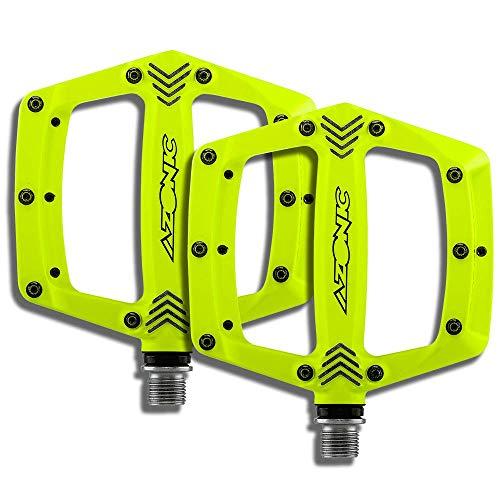 AZONIC Americana MTB Pedale neon gelb | Robuste Fahrradpedale| Flatpedal aus CNC überfräster Plattform | Ersatzpins | Geeignet für Mountainbike, E-Bike, BMX Rad u.v.m