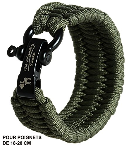 The Friendly Swede Einstellbares Trilobit Paracord Survival Überlebens-Armband (Grün, 18 cm - 19,5 cm Handgelenksumfang)