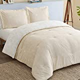 Bedsure Floral Comforter Set Twin Size Bed Beige Khaki & White, Flower and Plant Printed Reversible Botanical Comforter All Season Duvet Set, 2 Piece Bedding Set with 1 Pillow Sham