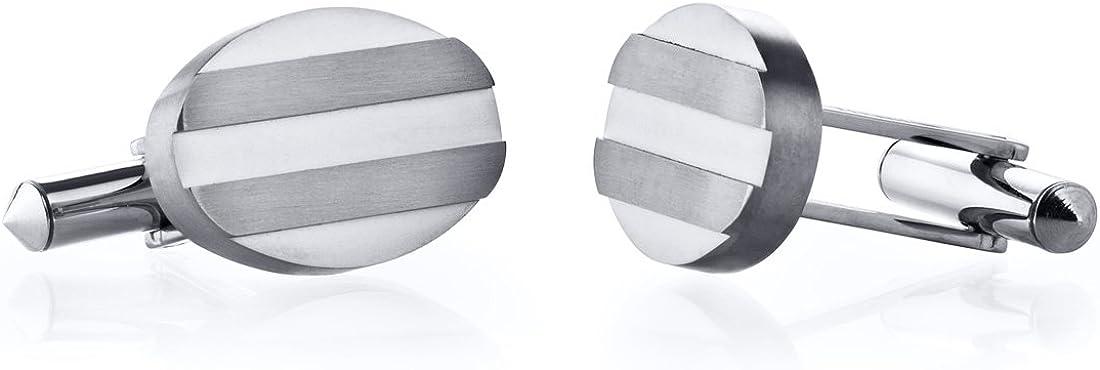 Peora Grooved Brushed Finish Oval Titanium Cufflinks