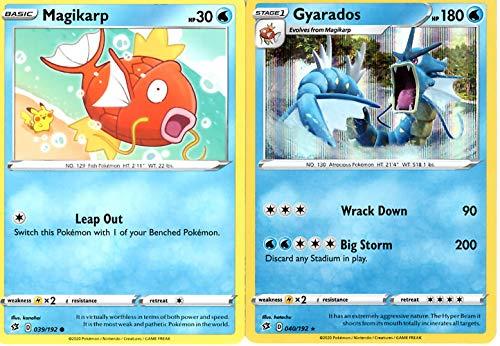 Pokemon Rebel Clash Evolution Set - Gyarados 040/192 - Sword & Shield - Foil Rare 2 Card Lot