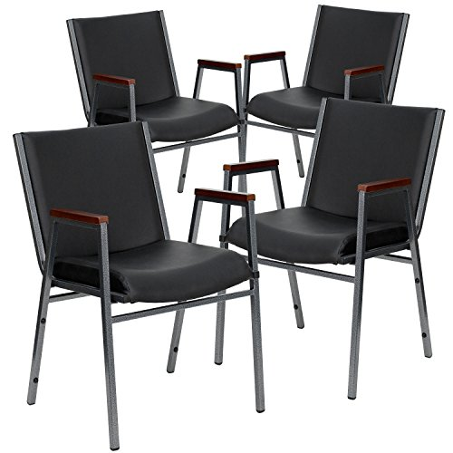 Flash Furniture 4 Pk. HERCULES Series Heavy Duty Black Vinyl Stack Chair with Arms
