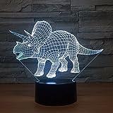 3D Illusion Dinosaurio Lámpara luces de la noche ajustable 7 colores LED Creative Interruptor táctil estéreo visual atmósfera mesa regalo para Navidad