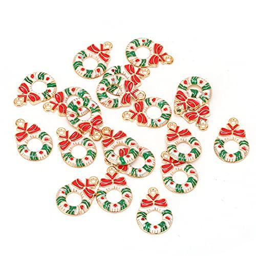 QiaNgshuAikj Colgante de aleación de Navidad, Material de Pulsera de Collar de Navidad, Accesorios de fabricación de Pulsera de Collar de Tema navideño,(#1)