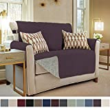 GORILLA GRIP Original Slip Resistant Loveseat Protector for Seat Width to 54 Inch, Patent Pending Suede-Like Furniture Slipcover, 2 Inch Straps, Couch Slip Cover Throw for Dogs, Love Seat, Dark Purple