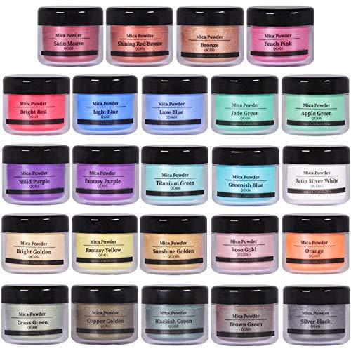 SEISSO Mica Powder Pigment, Natural Epoxy Resin Dye, Premium Mica Powder Set 24...