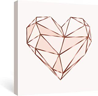 SUMGAR Pink Wall Art Bedroom Modern Pictures Fashion Canvas Prints Rose Gold Paintings Geometric Love Framed Artwork Teen Girls Dorm Decorations,12x12 in