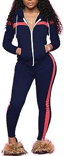 أبريتي 2 قطعة ملابس للنساء حجم زائد سويت سوت بسحاب لأعلى وبنطلون رياضي طويل بدلة رياضة رياضة ركض بدلات