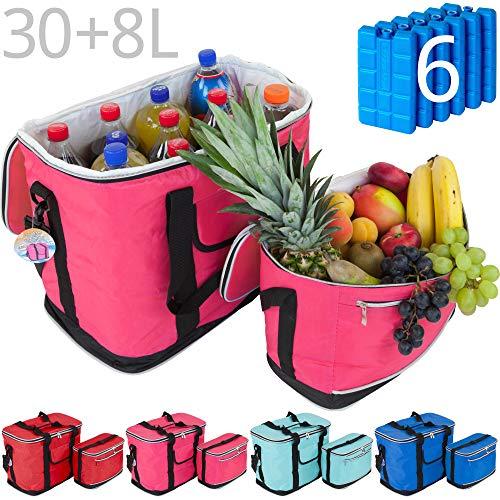 MABAMAHO Kühltaschen-Set Ibiza 30+8 Liter mit optional 6 Kühlakkus für Picknick, Grillen, Wandern (Mit 6 Kühlakkus, Pink)