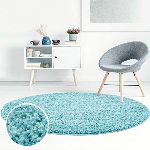 Carpet City ayshaggy Shaggy Teppich Hochflor Langflor Einfarbig Uni Türkis Weich Flauschig Wohnzimmer, Größe: 160 x 160 cm Rund, 160 cm x 160 cm