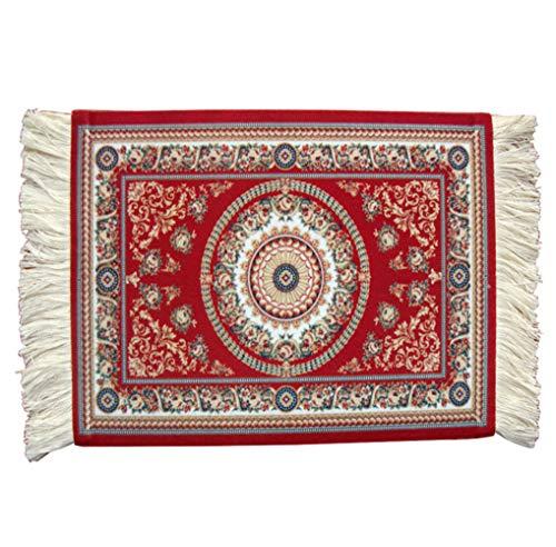 Egurs Teppich Mauspad Orientteppich Mini Teppich Computer Zubehör für den Schreibtisch aus Textilgewebe in rot