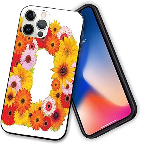 Compatible con iPhone 12 Series, símbolo del alfabeto con diferentes margaritas, manzanillas, pétalos de verano, funda flexible para iPhone 12 pro-6.1 pulgadas