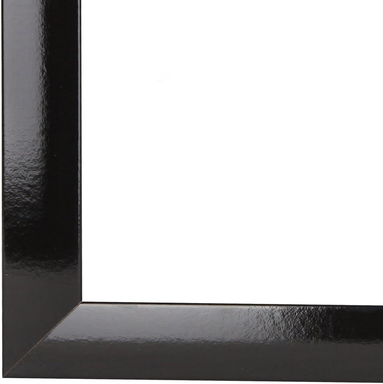 Olimp Bilderrahmen 70x130 oder 130x70 cm in SCHWARZ HOCHGLANZ normal Kunstglas und Rückwand, 35 mm breite MDF-Leiste mit Dekor Folienummantelung