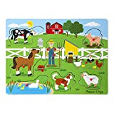 Melissa & Doug Old MacDonald's Farm Sound Puzzle (Musical Wooden Peg Puzzle, 8 Pieces, Great Gift for Girls and Boys - Best for 2, 3, and 4 Year Olds)