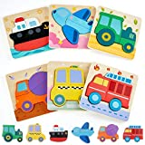 LOL-FUN Wooden Puzzles Toys for Toddlers 1-3, 1 2 Year Old Boy Birthday Gift Educational, Vehicles Puzzle for One Year Old Boy and Girl - 6 Pack