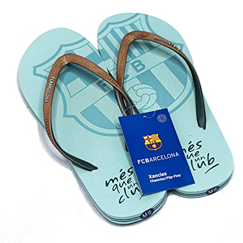 FC Barcelona Chanclas Mujer Verano Playa Piscina - Sandalias Goma Planas Caminar Zapatos colección Futbol Club Barcelona - Barça zapatillas edición limitada FCB (Celeste, Numeric_40)