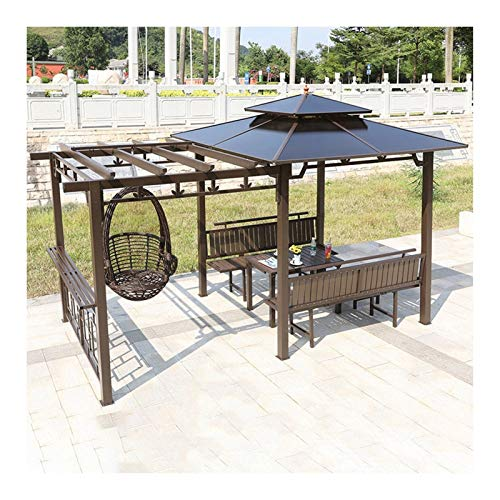 YYDD Villa Garden Furniture, Outdoor Gazebo Lawn Tent, Gazebos for Patios, Villa Patio Gazebo Outdoor Canopy Gazebo with Swing Chair and Desk, Ideal for BBQ, Party, Family Gathering