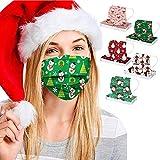 50 Piezas Estilo de Tema de Navidad Adulto_Mascarilla Desechable, Con 5 Patrones Diferentes Impresos...