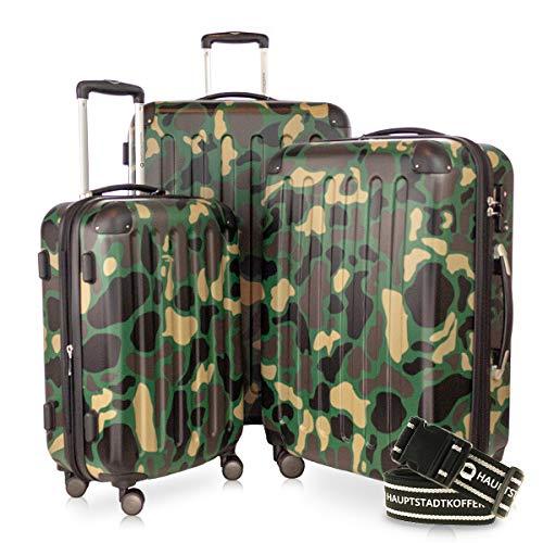 Hauptstadtkoffer - Spree - 3er-Koffer-Set Trolley-Set Rollkoffer Reisekoffer-Set Erweiterbar, TSA, 4 Rollen, (S, M & L), Camouflage inkl. Gepäckgurt