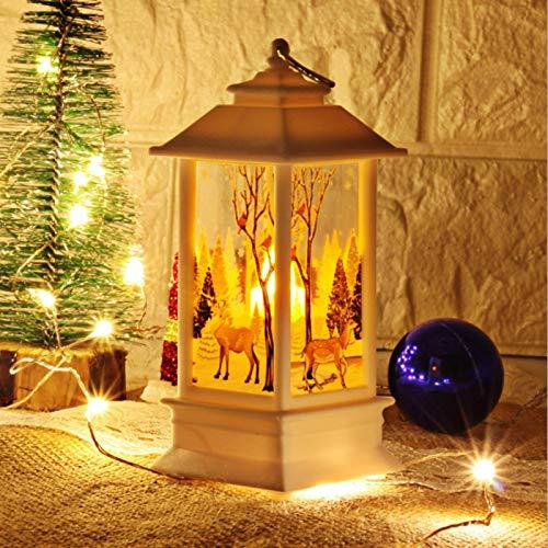 Lámpara de decoración de mesa, linterna de candelabro, lámpara de candelabro de ventana, respetuosa con el medio ambiente, para dormitorio, decoración de escena(White elk)