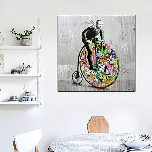 Martin Whatson's Graffiti Art Ciclismo Tela Pittura Wall Art Poster Stampe Immagini a parete per soggiorno Casa Cuadros Decor-40x40cm No Frame