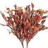 HUAESIN 2pcs Bouquet Flores Artificiales Otoño, Ramo de Hojas de Arce Artificial con Calabaza Pequeña Flor Naranja Artificial para Boda Banquete de Mesa Hogar Ventana Alféizar Interior Oficina