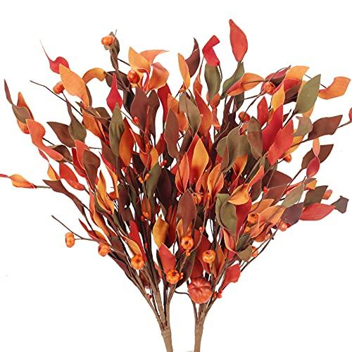 HUAESIN 2pcs Bouquet Flores Artificiales Otoño, Ramo de Hojas de Arce Artificial...