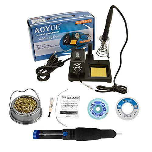 Aoyue 469 Kit includes 60 Watt Soldering Station, Solder Wire, Flux, Fast Chip Removal Alloy, Tip Cleaner, Desoldering Pump and Solder Wick
