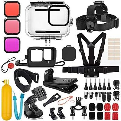 Deyard 52 in 1 Accessories Kit for GoPro Hero 9 Black, Rubber Case/Waterproof Case + 3 Filters Chest + Head/Wrist Strap+ Bike/Backpack Clip + Floating Grip by Deyard