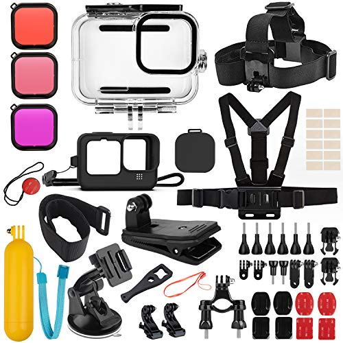 Deyard 52 in 1 Accessories Kit Compatible with GoPro Hero 9 Black, Rubber Case/Waterproof Case + 3 Filters Chest + Head/Wrist Strap+ Bike/Backpack Clip + Floating Grip