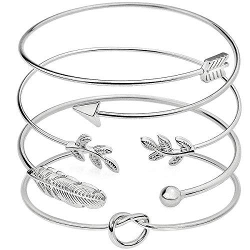 Suyi 4 Stück verstellbares Manschettenarmband Stackable Wrap Bracelet Set mit offenem Drahtarmreif für Frauen Silver