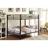 Metal Queen Over Queen Bunk Bed for Kids Adults, Heavy Duty Bunk Bed Frame with Safety Guard Rails for Bedroom Dorm, Space Saving Design, No Box Spring Required (Black) (Queen Over Queen)