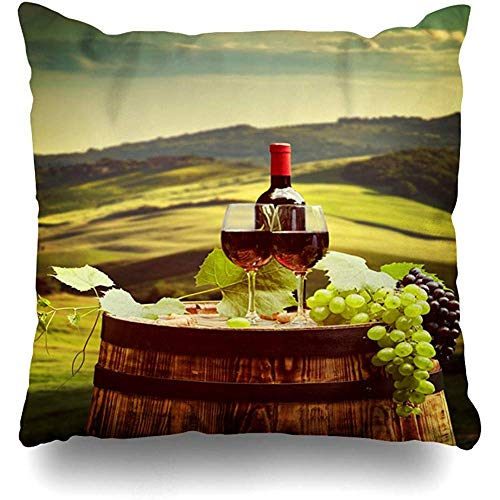 SSHELEY Kussensloop Fles Landbouw Rode Wijnvat Op Wijngaard Groen Toscane Eten Drink Alcohol Gebied Herfst Drank Kussensloop