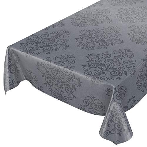 ANRO Wachstuchtischdecke Wachstuch Wachstischdecke Tischdecke abwaschbar Ranken Barock Arabeske Anthrazit 220 x 140cm