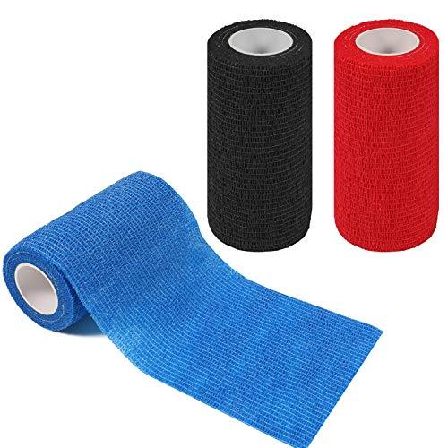 tonyg-p 3 Pack Cohesive Bandage Self Adhesive Bandage Elastic Breathable Vet Wrap PetBandage Tape for Stretch Athletic, Sports, Wrist, Ankle, 5 Yards Length (Black, Red, Blue) (3.94 Inch)