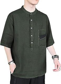 シャツ メンズ 五分袖 無地 ゆったり 夏服 カジュアル シンプル シャツ メンズ 吸汗速乾 汗染み防止 快適 軽い 柔らかい かっこいい 大きいサイズ シャツ…