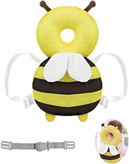 Hewnda Baby Head Protector - Baby Walker Protective Head Adjustable Baby Safety Mat Protective Head Cute Bee Suitable Age 4-36 Months (Yellow)