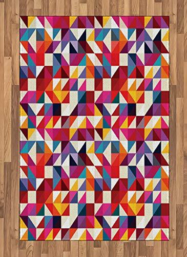 ABAKUHAUS Geometrisch Teppich, Bauhaus-Stil-Muster, Deko-Teppich Digitaldruck, Färben mit langfristigen Halt, 120 x 180 cm, Mehrfarbig