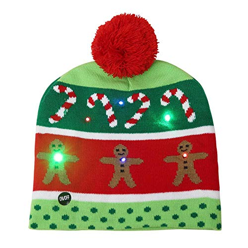 Starnearby Kerstmuts met LED-licht, knipperende kerstmuts voor kinderen, unisex, rood