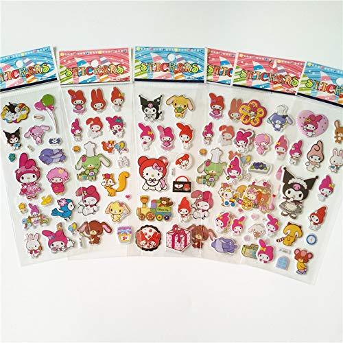 hongruida 6 pegatinas de dibujos animados anime ponies princesa juguete niños mi pequeño unicornio para equipaje portátil pegatina burbuja (color: Moledy)