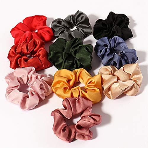 Egurs Satijn Haar Scrunchies,10 stks Effen Kleur Elastiek Haarbanden voor Kinderen Volwassenen