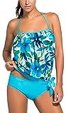 OLIPHEE Mare e Piscina Sportivo Tankini Bikini Donna Moda Due Pezzi Costume Costumi Blu 2XL