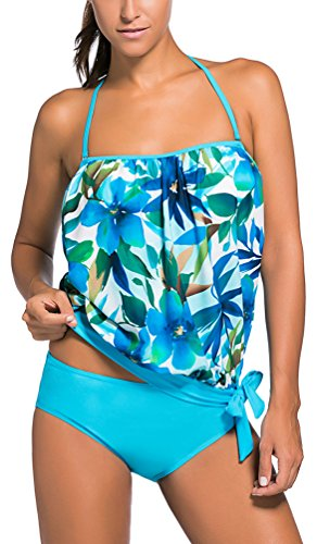 OLIPHEE Mujer Bandeau Swimsuits Soft Cup Strapless Blusa Tankini con Breifs lanhay1-3XL-2