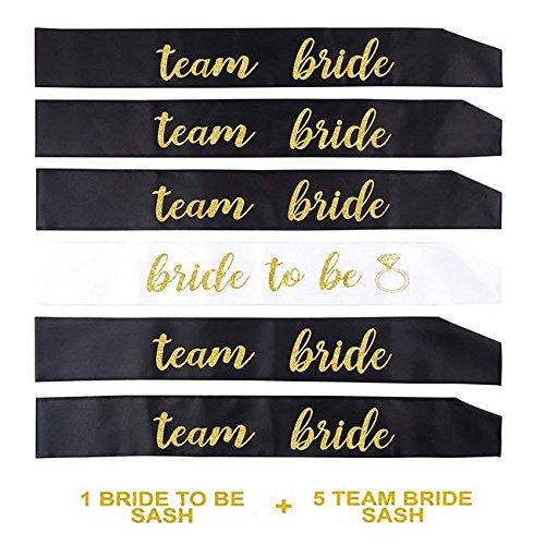Losuya 5 Schwarze Team Braut Schärpen mit 1 weißen Braut Sash Set für Hochzeit, Junggesellenabschied, Engagement und Bridal Shower Dekorationen