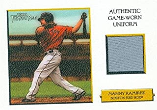 Autograph Warehouse 343568 Manny Ramirez Player Worn Jersey Patch Baseball Card - Boston Red Sox 2006 Topps Turkey Red No. TRR-MR White LE 9 & 99