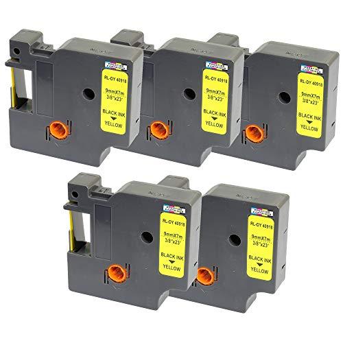 5 Nastri D1 40918 nero su giallo 9mm x 7m Etichette compatibili per DYMO LabelManager LM 100 150 160 200 210D 260 280 300 350 350D 360D 400 420P 450 500TS PC PC2 PnP LabelWriter LW 400 450 Duo