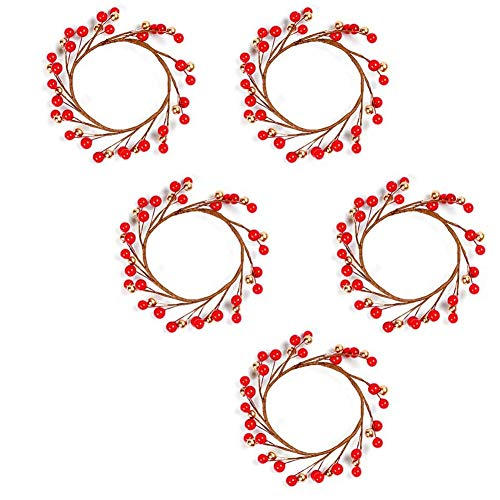 Beada 5Pcs Candle Rings Wreaths for Pillars, Artificial Red and Gold Berry Candle Rings, Christmas Candle Holder Rings