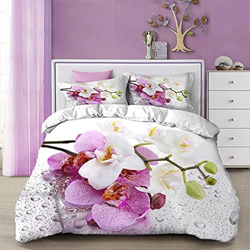 Juego de Cama Grande de Lujo Textil para el hogar impresión 3D Flor de Mariposa Azul Funda nórdica Funda de Almohada decoración del Dormitorio del hogar 220x240cm V-1